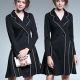 【麗質達人 中大碼】5017條紋滾邊假二件洋裝(L-5XL)