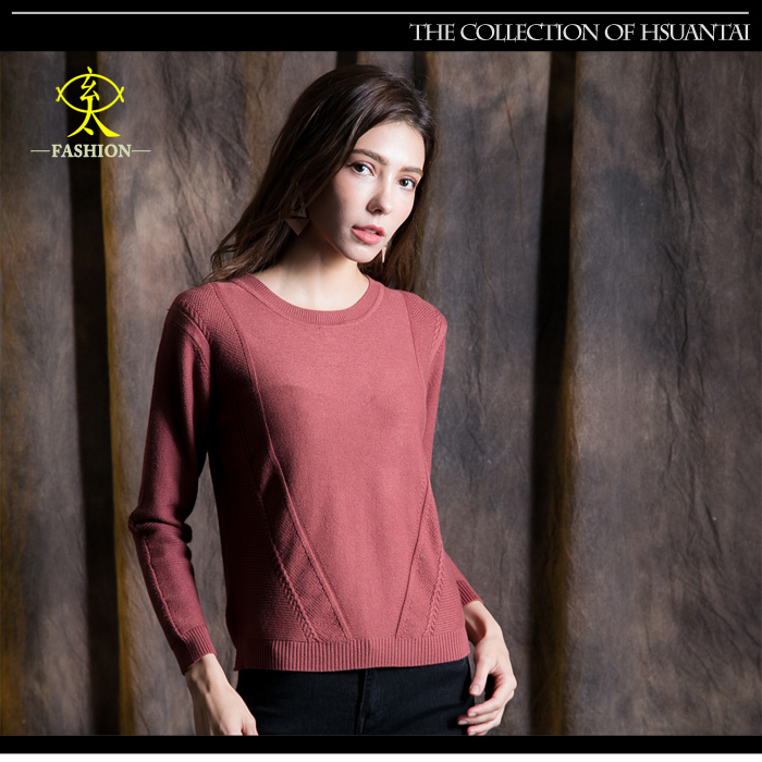玄太-純色修身圓領特色織紋針織上衣(紅)