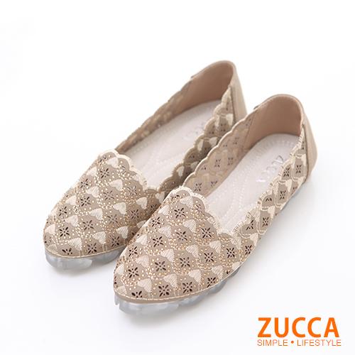 ZUCCA【z6222gd】縷空編織花邊平底包鞋-金色