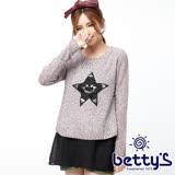 betty's貝蒂思 亮片圖案雪紡拼接混色毛衣(紫色)
