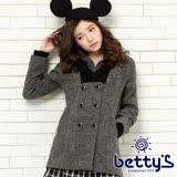 betty's貝蒂思 羅紋拼接混羊毛連帽大衣(灰色)