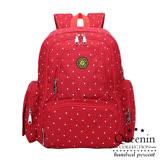 DF Queenin日韓 - 熱銷推薦款大容量多口袋後背包媽咪包-共4色