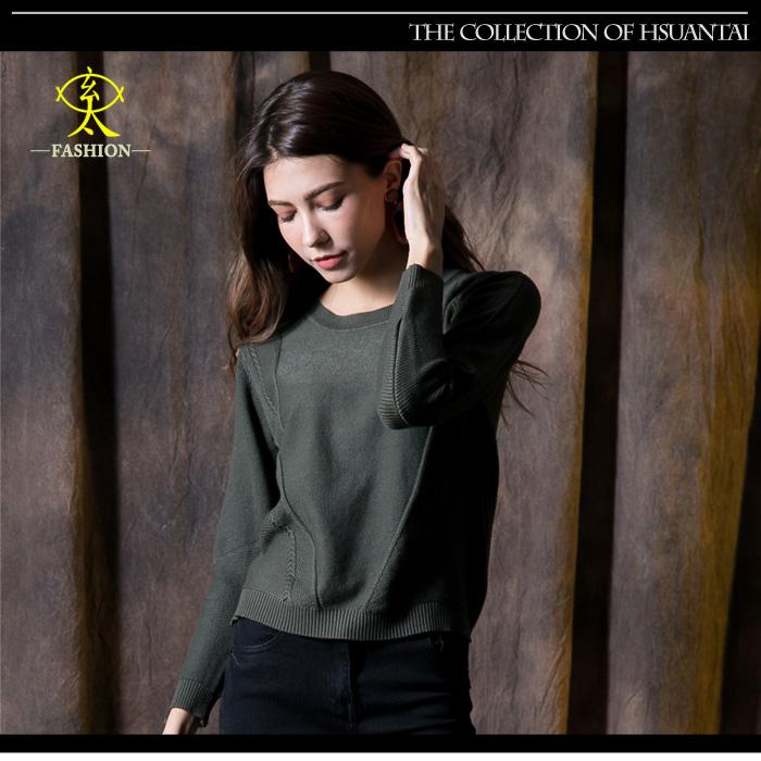 玄太-純色修身圓領特色織紋針織上衣(綠)
