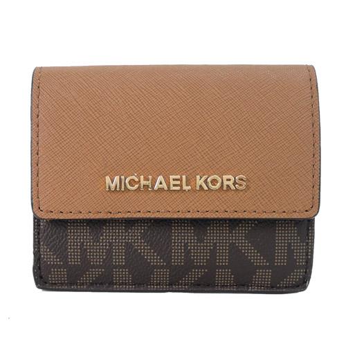 MICHAEL KORS JET SET TRAVEL 金字滿版MK鑰匙零錢包-咖棕