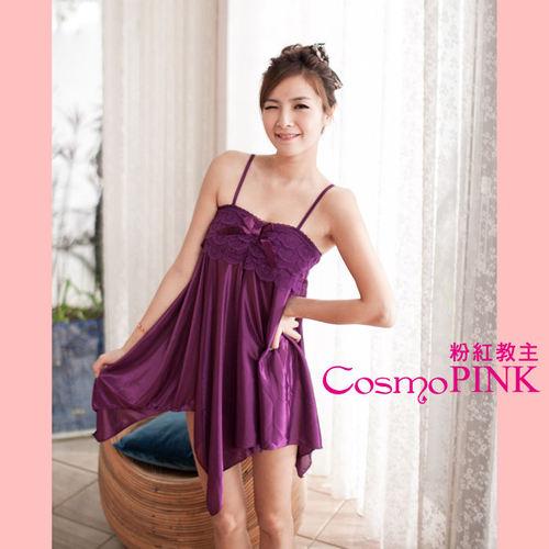 ~ 粉紅教主~日系睡裙~不規則睡裙~甜蜜冰絲睡裙CLL0009紫色