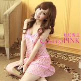 【Cosmo PINK 粉紅教主】日系睡裙★可愛淺粉小蝴蝶結點綴與滾邊蕾絲 CSTL0011