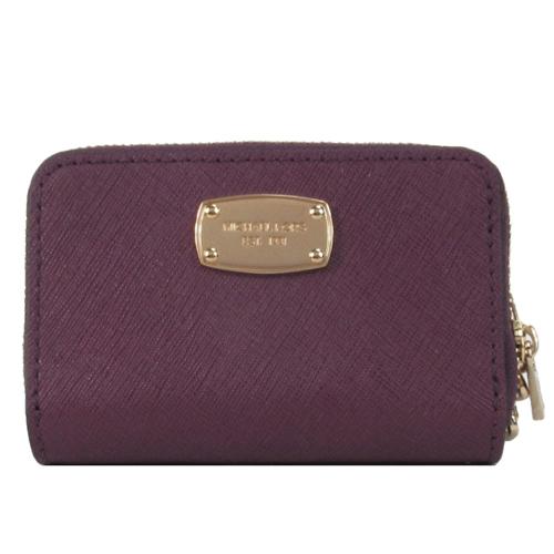 MICHAEL KORS JET SET ITEM 方牌防刮皮革鑰匙零錢包(紫)