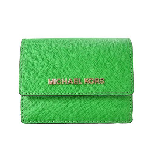 MICHAEL KORS JET SET TRAVEL 金字防刮皮革鑰匙零錢夾-亮綠