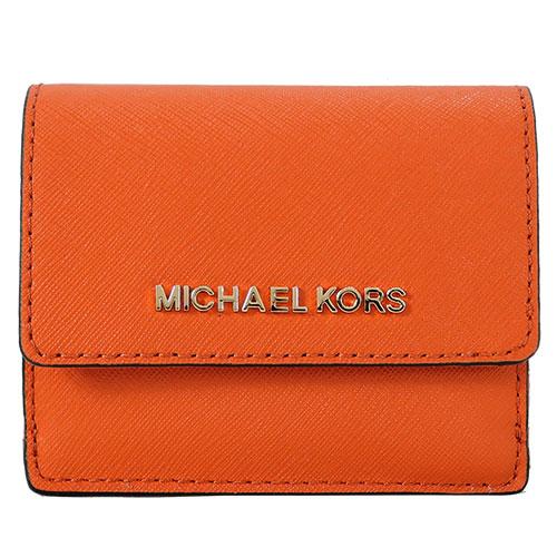 MICHAEL KORS JET SET TRAVEL 金字防刮皮革鑰匙零錢夾-柑橘