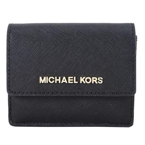 MICHAEL KORS JET SET TRAVEL 金字防刮皮革鑰匙零錢夾-黑