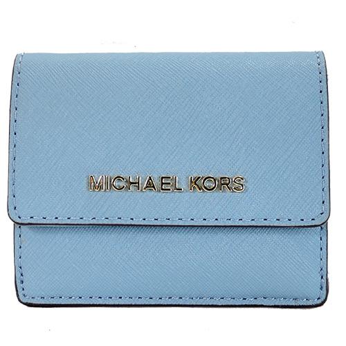 MICHAEL KORS JET SET TRAVEL 金字防刮皮革鑰匙零錢夾-天藍