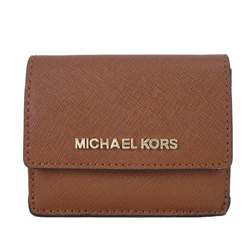 MICHAEL KORS JET SET TRAVEL 金字防刮皮革鑰匙零錢夾-棕