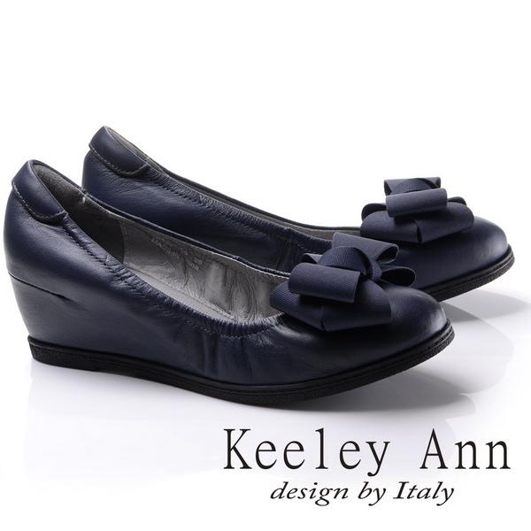 Keeley Ann熟女推薦-簡約蝴蝶結造型全真皮內增娃娃鞋(藍色785043160)