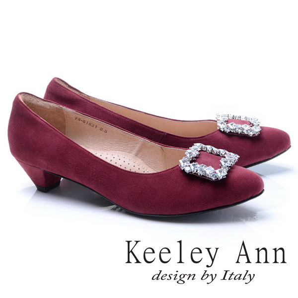 Keeley Ann高貴典雅-閃耀方形鑽飾OL全真皮低跟鞋(酒紅色785183157)
