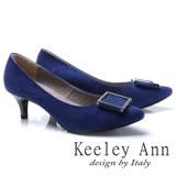 Keeley Ann典雅迷人-方形飾釦OL全真皮中跟鞋(藍色785303160)