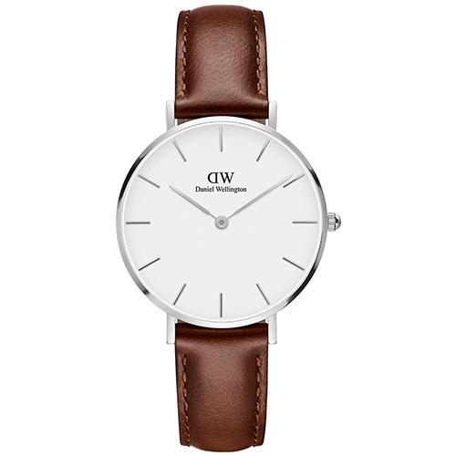 DW Daniel Wellington 經典聖莫斯棕色皮帶腕錶-銀框/32mm(DW00100187)