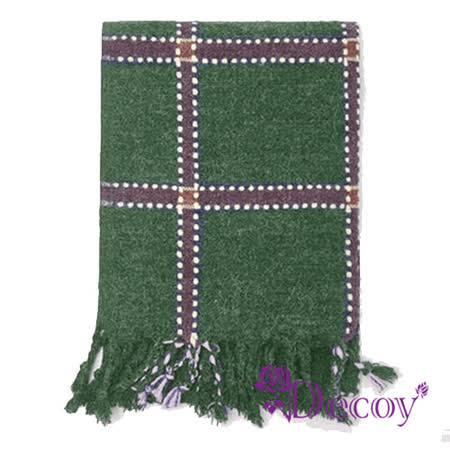【Decoy】刺繡方格*中性仿羊絨保暖流蘇圍巾/綠