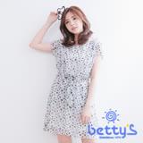 betty's貝蒂思 星星幾何圖案綁結雪紡洋裝(白色)