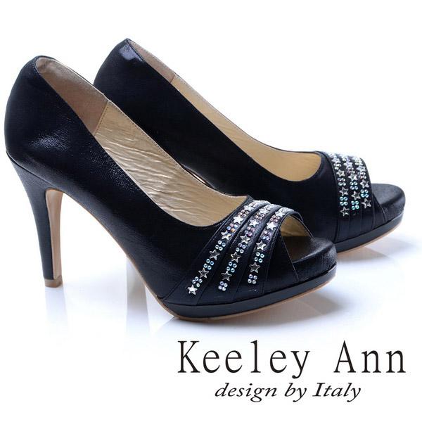 Keeley Ann奢華質感-星茫水鑽排列造型真皮軟墊高跟魚口鞋(黑色785058110)