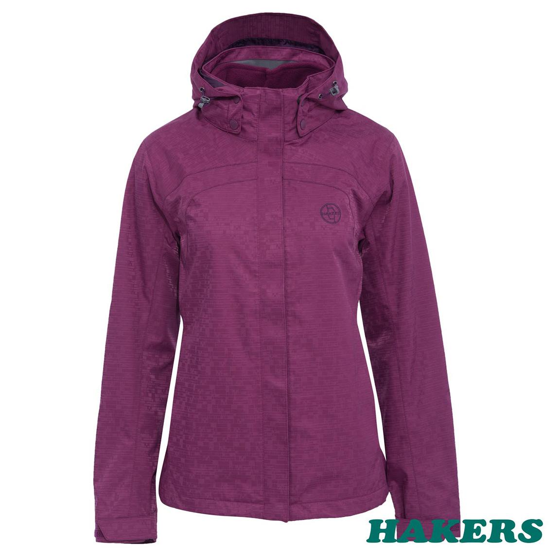 【HAKERS 哈克士】女款 二合一防水透溼外套(紫紅)