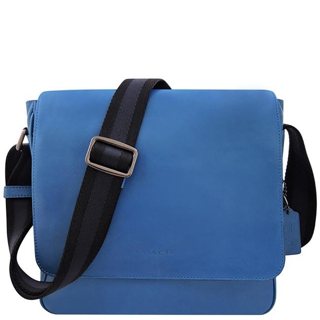 COACH 皮革壓紋斜背包-藍色