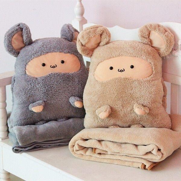 細緻柔軟面料 多功能暖手抱枕毯/靠墊