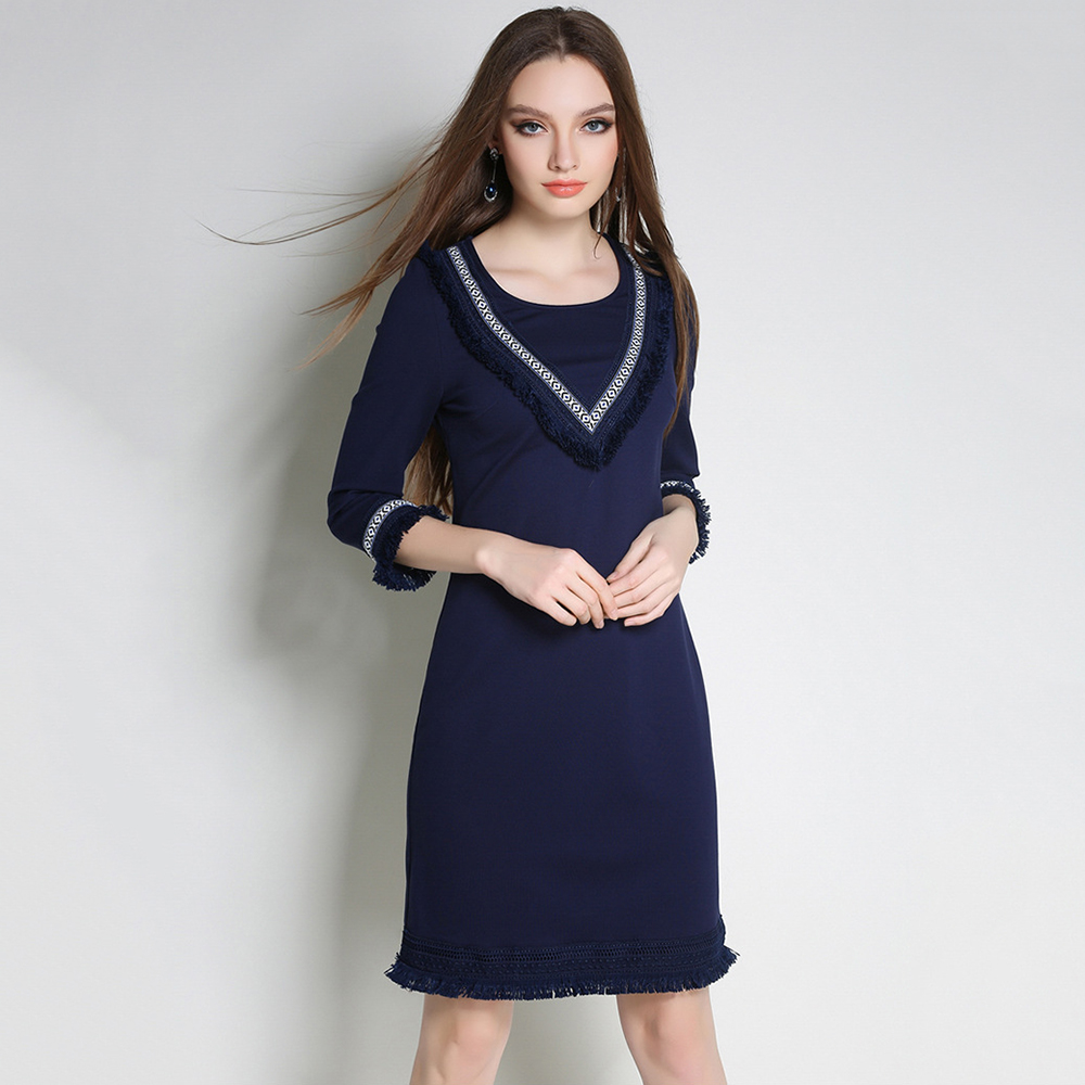 【Jisen】知性優雅流蘇七分袖洋裝
