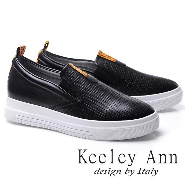 Keeley Ann簡約率性-素面全真皮厚底懶人休閒鞋(黑色776972210-Ann系列)