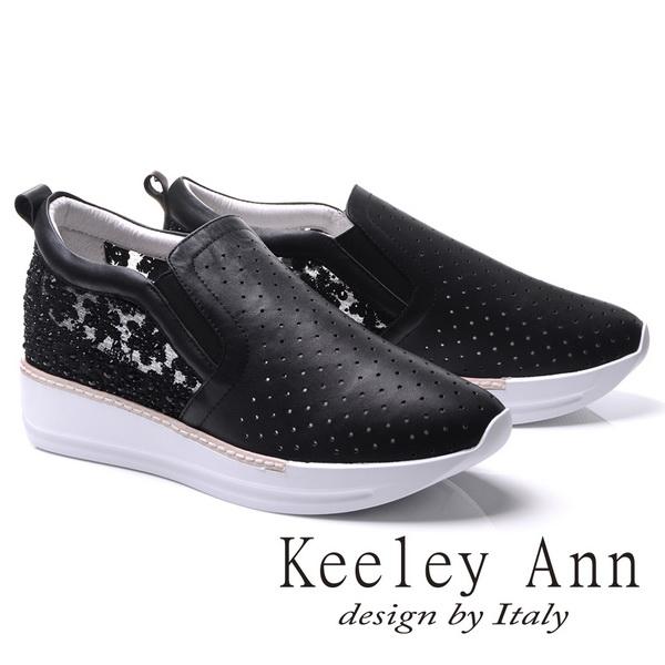 Keeley Ann甜美微透網紗小花鑽全真皮內增高休閒鞋(黑色776832110-Ann系列)