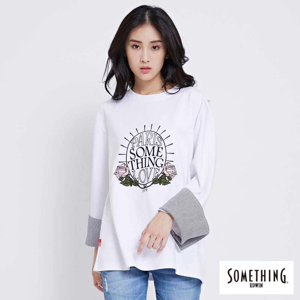 SOMETHING 花卉字體圓領長袖T恤-女-白色