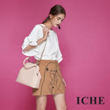 ICHE衣哲 時尚手繪感線條勾勒羊毛鉛筆造型裙-咖
