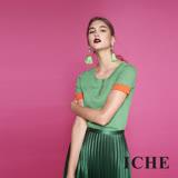 ICHE衣哲 時尚簡約羊毛撞色針織造型上衣(兩色)-綠
