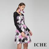 ICHE衣哲 馬甲式印花拼接假兩件造型禮服洋裝-紫