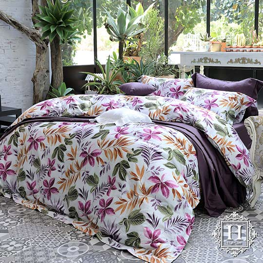 《HOYA H Series 絢麗葉語》雙人四件式300織長纖細棉被套床包組