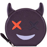 COACH 小惡魔造型皮革零錢包-橘葡萄紫色
