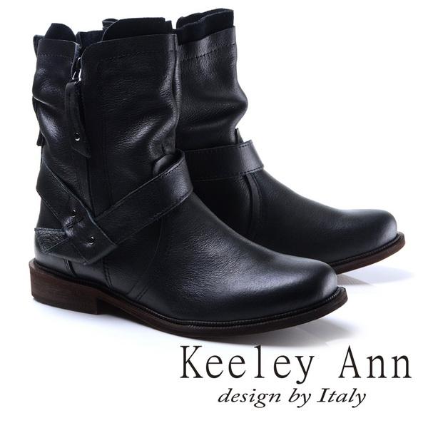 Keeley Ann時尚指標-質感抓皺擦色真皮中筒靴(黑色787138310)