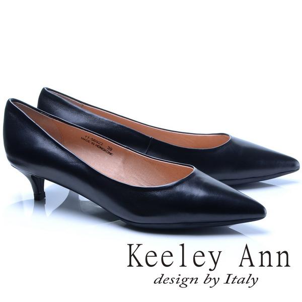 Keeley Ann簡約步調~素面尖頭OL全真皮中跟鞋(黑色775692210-Ann系列)
