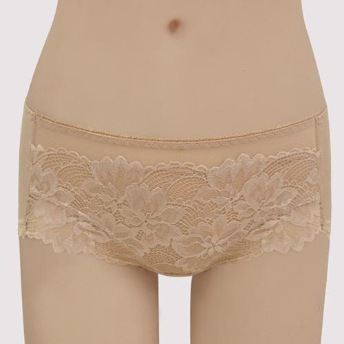 【曼黛瑪璉】V極線 低腰平口棉內褲(深遂膚)