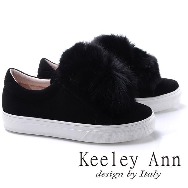 Keeley Ann異國情懷~甜美暖毛球造型全真皮厚底休閒鞋(黑色776832510-Ann系列)