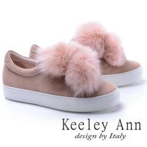 Keeley Ann異國情懷~甜美暖毛球造型全真皮厚底休閒鞋(粉紅色776832556-Ann系列)