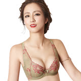 【思薇爾】戀戀金紗系列D-F罩刺繡蕾絲包覆無襯內衣(鉻金綠)