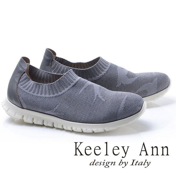 Keeley Ann輕盈活力~飛鳥彈性布真皮軟墊平底休閒鞋(灰色786053180)