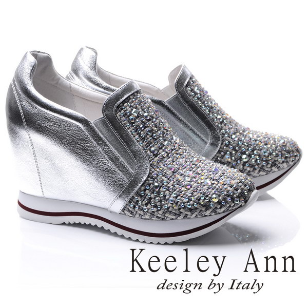 Keeley Ann華麗異材質拼接編織真皮內增高休閒鞋(銀色776822527-Ann系列)