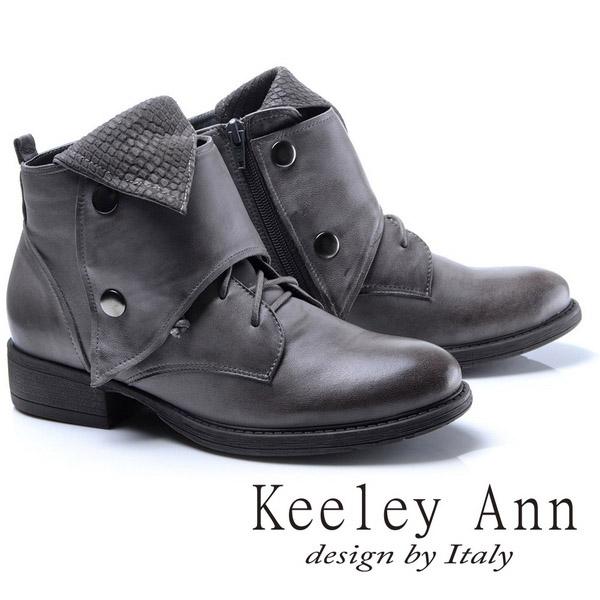 Keeley Ann異國情懷~多層次反折綁帶造型真皮短靴(灰色787138680)