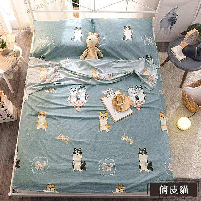【挪威森林】俏皮貓100%純棉旅行保潔墊/隔髒睡袋_單人加大-絕非化纖或韓棉布料