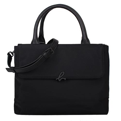 agnes b. - 小b logo 素面尼龍手提/斜背兩用包(黑)