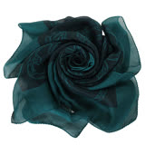 GUCCI- 竹節雙G LOGO圖騰造型絲巾(藍綠)