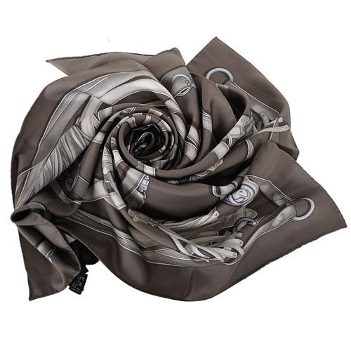 GUCCI-  流蘇圖騰造型絲巾(褐灰色)