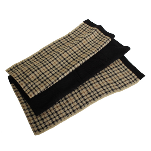 DAKS -經典款格紋毛料大披肩/圍巾(黑格)