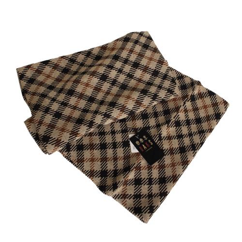 DAKS -經典款雙色格紋圍巾/圍脖/披肩(卡其格)